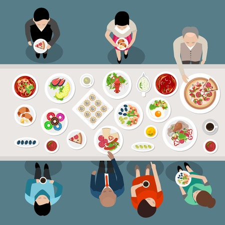 Illustration pour Banquet Catering Party Top View poster with people choosing and eating meals standing by the table vector illustration - image libre de droit