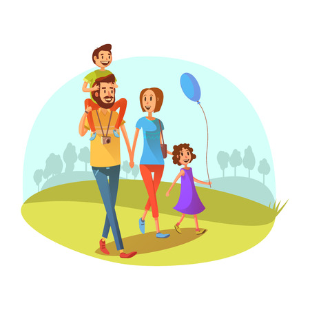 Photo pour Family weekend concept with parents and children walking cartoon vector illustration - image libre de droit