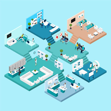 Illustration pour Hospital icons Isometric scheme with different cabinets and rooms on different floors connected by stairs vector illustration - image libre de droit