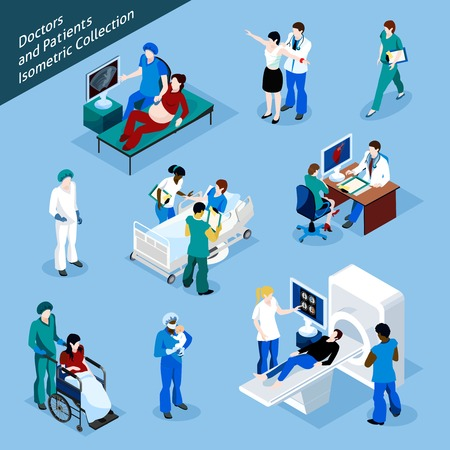 Illustration pour Doctor And Patient Isometric people icon set with isolated medical workers in uniform and people at reception vector illustration - image libre de droit
