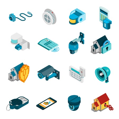 Illustration pour Security system isometric icons set with alarm and camera symbols isolated vector illustration - image libre de droit