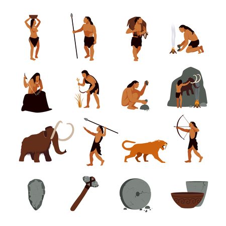 Illustration pour Prehistoric stone age icons set presenting life of cavemen and their primitive tools flat isolated vector illustration - image libre de droit