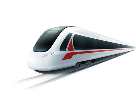 Super streamlined high-speed train on white background emblem realistic image ad poster isolated vector illustration