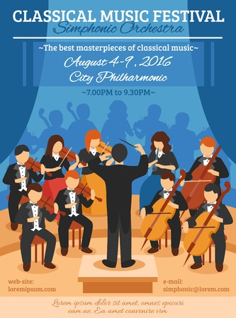 Illustration for Classical music festival flat poster with musicians of symphonic orchestra and conductor vector illustration - Royalty Free Image