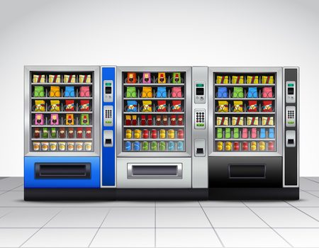 Illustration pour Realistic vending machines front view with food and drinks on tiled floor near grey wall vector illustration - image libre de droit