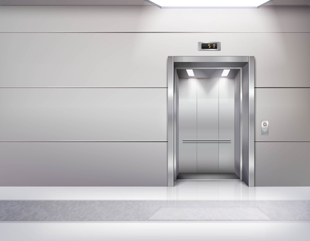 Illustration pour Realistic empty elevator hall interior with waiting lift marble floor ceiling window and grey walls vector illustration - image libre de droit