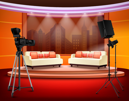Illustration pour Talk show studio interior with comfortable sofas on pedestal filming equipment urban view in background vector illustration - image libre de droit