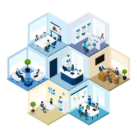 Illustration pour Business offices workspace interior organization tessellated honeycomb hexagonal isometric composition pattern abstract vector isolated illustration - image libre de droit