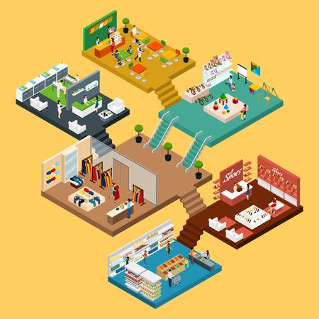 Ilustración de Mall Isometric icon set with conceptual 3d map of multistory shopping center with different floors and areas vector illustration - Imagen libre de derechos