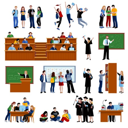 Illustration pour Students at the university in library in auditorium and after exam flat color icons set on white background isolated vector illustration - image libre de droit