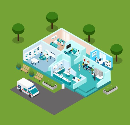 Illustration pour Medical center icons Isometric interior  with different rooms medical staff and  equipment vector illustration - image libre de droit