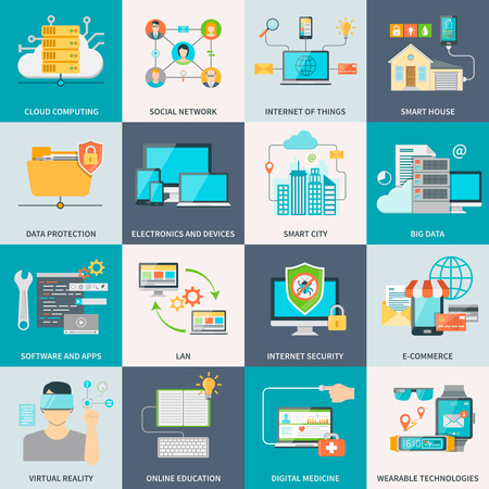 Illustration pour Information technologies concept flat icons with electronic devices software and internet isolated vector illustration - image libre de droit