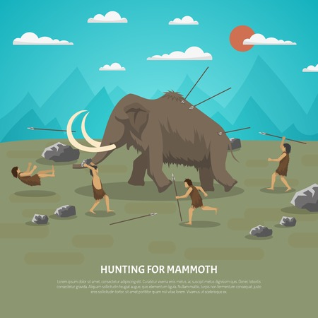 Illustration pour Color illustration showing hunting for mammoth caveman in prehistoric stone age with title vector illustration - image libre de droit