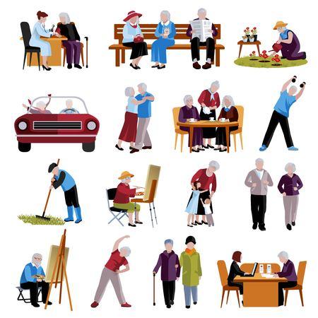 Ilustración de Elderly People Icons Set. Elderly People Vector Illustration. Elderly People Isolated Icons. Elderly People Symbols. Elderly People Decorative Set. Elderly People Flat Illustration. - Imagen libre de derechos