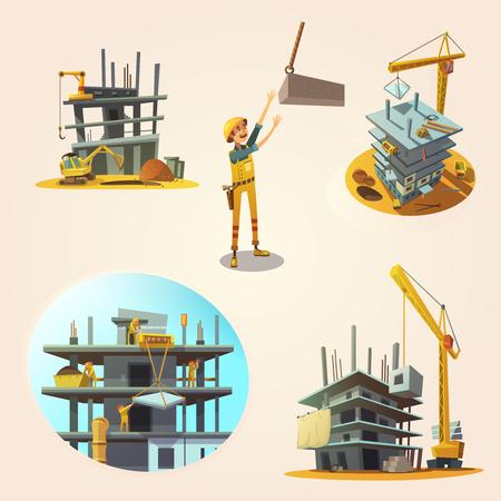 Illustration pour Construction concept set with building process retro cartoon icons isolated vector illustration - image libre de droit