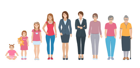 Ilustración de Different generations full length silhouette european women isolated set vector illustration - Imagen libre de derechos