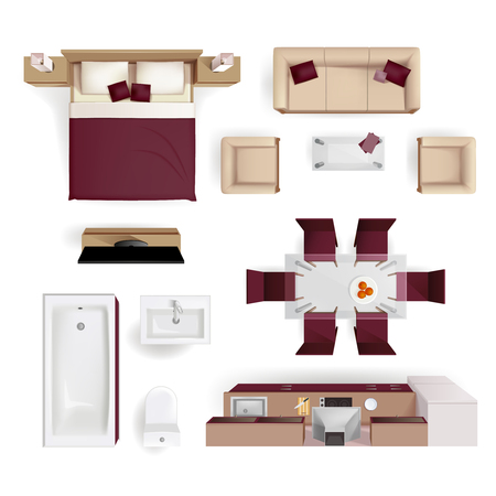 Illustration pour Modern apartment living room bedroom and bathroom furniture design elements top view image realistic vector illustration - image libre de droit