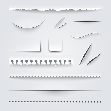 Illustration pour White paper perforated ripped torn jagged cut edges texture samples set realistic shadows vector illustration - image libre de droit