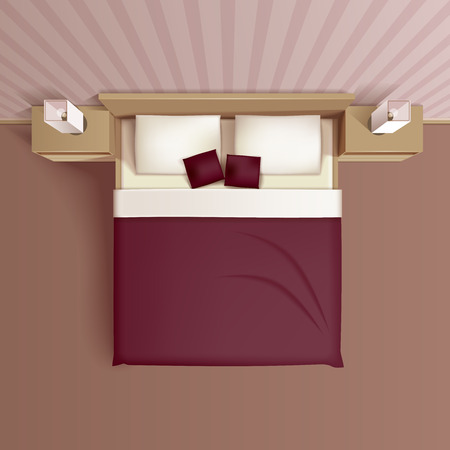 Illustration pour Classic family bedroom interior design with comfortable bed headboard pillows and nightstands top view realistic vector illustration - image libre de droit