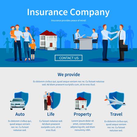 Ilustración de Insurance company one page website with negotiations and icons of auto travel life and property vector illustration - Imagen libre de derechos