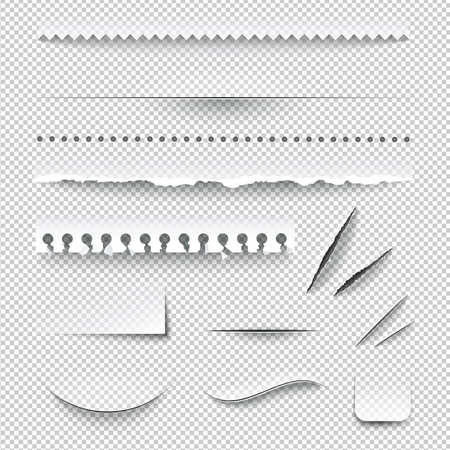 Illustration pour Semitransparent white paper checkered perforated ripped torn jagged cut edges texture samples set realistic shadows vector illustration - image libre de droit