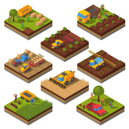 Illustration pour Isometric set with isolated plates of fields and agricultural machines harvesting and people cropping vector illustration - image libre de droit