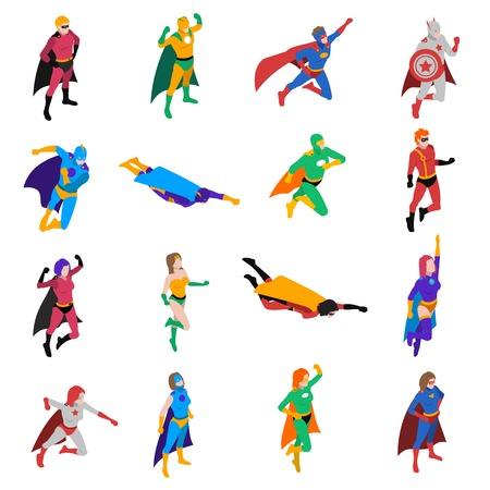 Illustration pour Superhero Icons Set. Superhero Isometric Vector Illustration. Superhero People Symbols. Superhero Design Set. Superhero People Collection. - image libre de droit