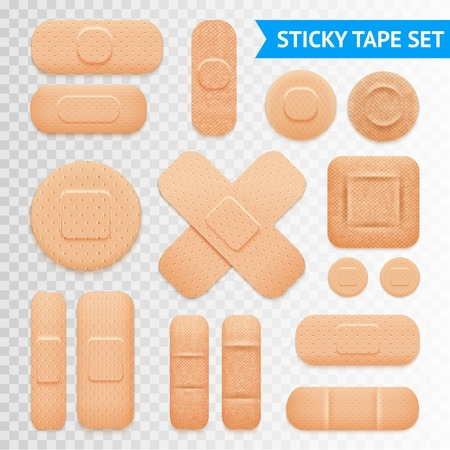 Illustration pour Medical adhesive waterproof aid band plaster strips varieties icons collection with transparent background realistic vector illustration - image libre de droit