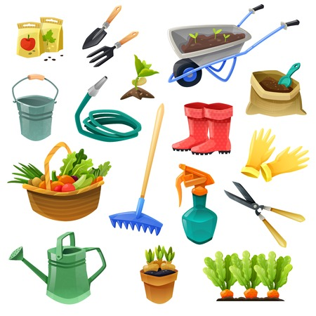 Illustration pour Gardening isolated color icons with handcart  hose for watering rubber boots bag of fertilizer and basket with vegetables vector illustration - image libre de droit
