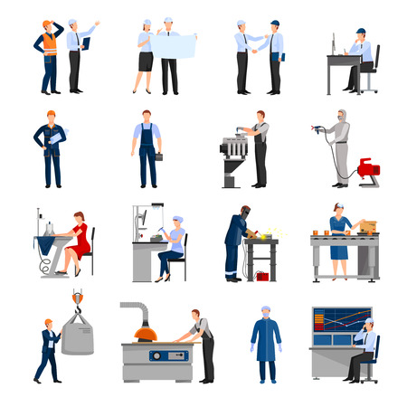 Ilustración de Icons set of drawn in flat style different factory workers from engineer to conveyor operator isolated vector illustration - Imagen libre de derechos