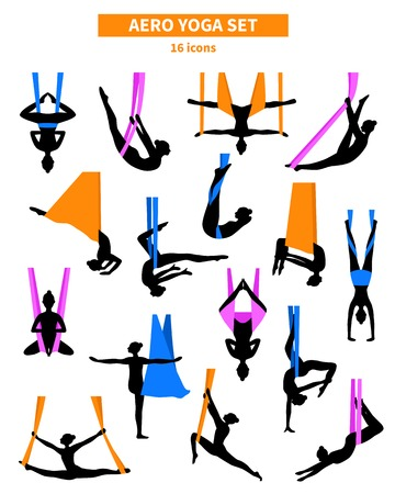 Illustration pour Aero yoga black white isolated icon set with silhouettes of women training in colored fabrics vector illustration - image libre de droit