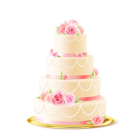 Illustration pour Classic 3 tiered delicious wedding cake with white icing decorated with cream roses realistic image vector illustration - image libre de droit