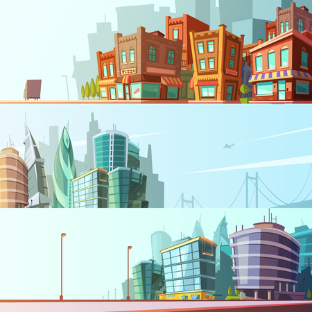 Illustration pour Modern and historical bay area street view day skyline 3 horizontal banners set cartoon isolated vector illustration - image libre de droit