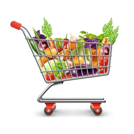 Foto per Realistic shopping basket full of organic products with fresh fruits vegetables and greens for healthy nutrition vector illustration - Immagine Royalty Free