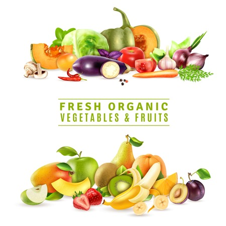 Photo for Colorful organic design concept with two collections of fresh vegetables and fruits in realistic style vector illustration - Royalty Free Image