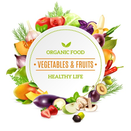 Illustration pour Natural organic food background with colorful bright frame contained fresh vegetables and fruits set pictured in realistic style vector illustration - image libre de droit