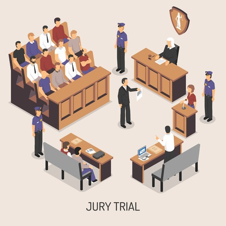Illustration pour Jury trial isometric composition with officers of police court defendant lawyer witnesses on white background vector illustration - image libre de droit