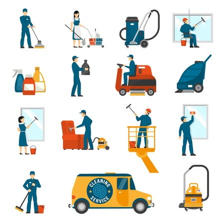 Illustration pour Industrial cleaning service workers flat icons collection with vacuum scrubber and sweeper machines abstract isolated vector illustration - image libre de droit