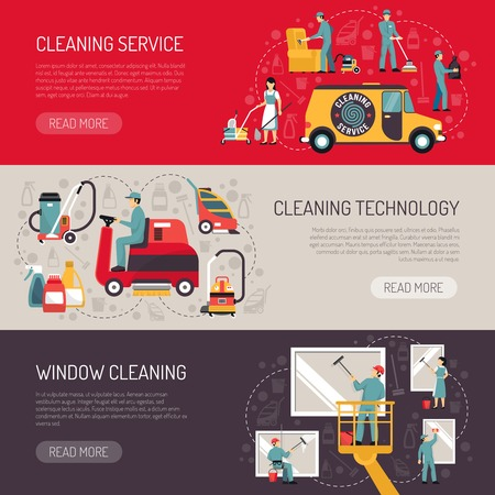 Illustration pour Industrial facilities cleaning services information on technology and equipment 3 flat horizontal banners abstract isolated vector illustration - image libre de droit