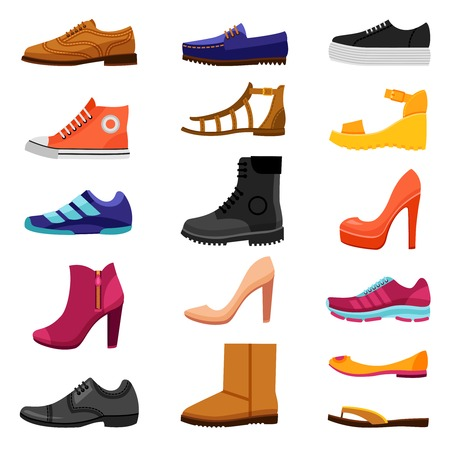 Illustration pour Footwear flat colored icons set of male and female shoes boots sandals for different seasons isolated vector illustration - image libre de droit