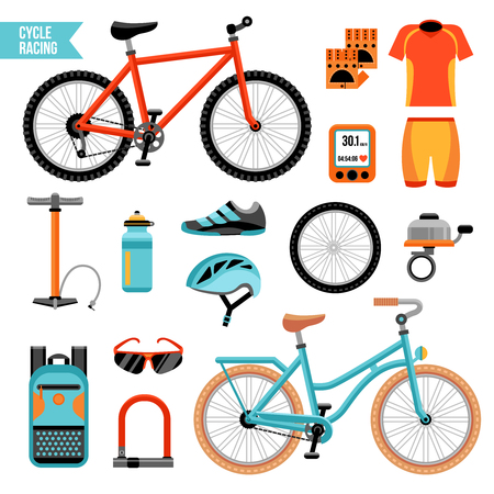 Illustration pour Bike and cycling accessories colored icons set with biker uniform elements pump wheel bicycle bell isolated vector illustration - image libre de droit