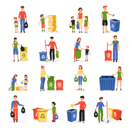 Ilustración de People collecting and sorting waste for recycling and reuse flat icons collection abstract isolated vector illustration - Imagen libre de derechos