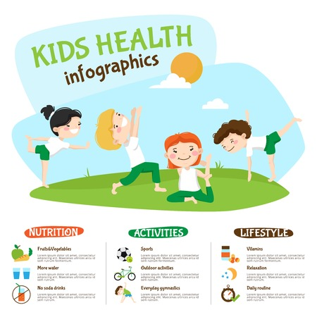 Ilustración de Healthy lifestyle tips for kids infographic poster webpage with children practicing yoga outdoors funny abstract vector illustration - Imagen libre de derechos