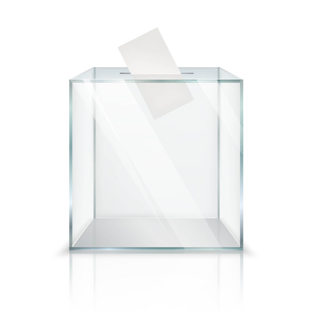 Illustration pour Realistic empty transparent ballot box with voting paper in hole on white background isolated vector illustration - image libre de droit