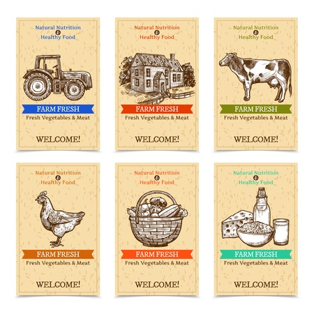 Ilustración de Six vertical farm tags welcome banners with healthy food farm animals tractor farmhouse with textural beige background sketch hand drawn isolated vector illustration - Imagen libre de derechos