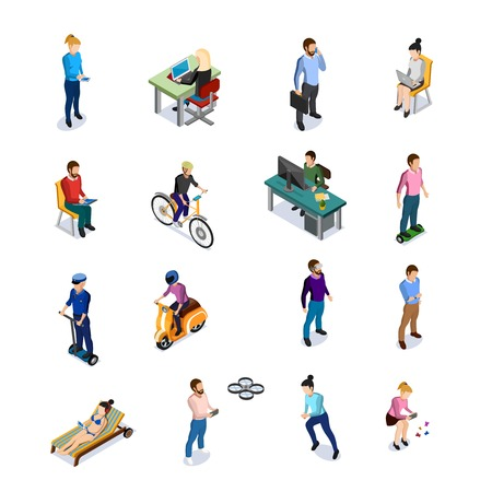Illustration pour Isometric people icons set with men and women using different kinds of transport and electronic devices on white background - image libre de droit