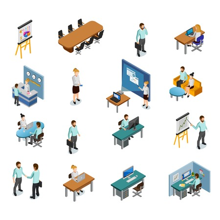 Illustration pour Isometric business set - image libre de droit