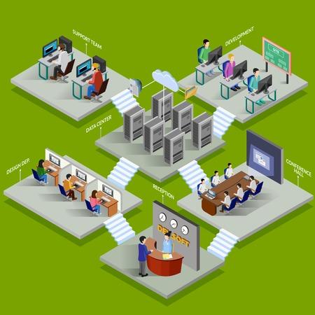 Illustration pour Development office isometric design concept with reception data center conference hall support service elements flat vector illustration - image libre de droit