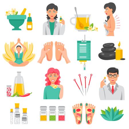 Ilustración de Alternative medicine  set of foot massage lotus flower needles for acupuncture aroma therapy isolated icons flat vector illustration - Imagen libre de derechos