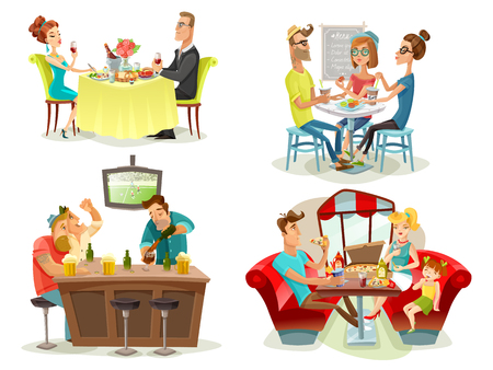 Illustration pour Restaurant cafe bar 4 colorful pictures square with football fans family diner and dating couple abstract vector illustration - image libre de droit